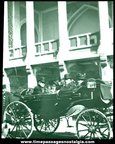 Early Victorian Carriage & People Glass Photograph Slide