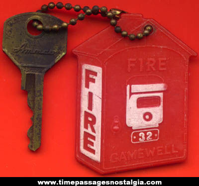 Old Gamewell Fire Alarm Box Keychain With Key