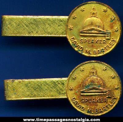 (2) Old David M. Bartley Massachusetts House Speaker Neck Tie Bars
