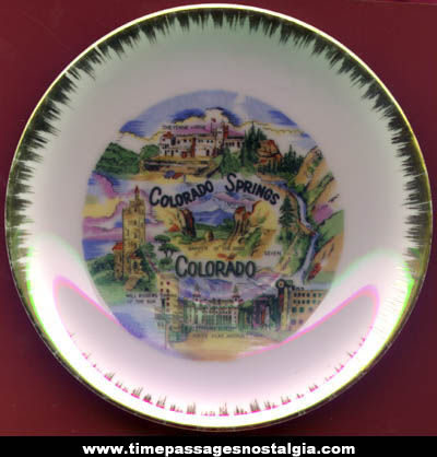 Small Old Colorado Springs, Colorado Advertising Souvenir Plate
