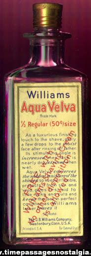 Old Williams Aqua Velva Advertising Premium Bottle With Contents