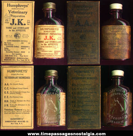 (2) Old Humphreys' Homeopathic Veterinary Medicine Bottles With Boxes