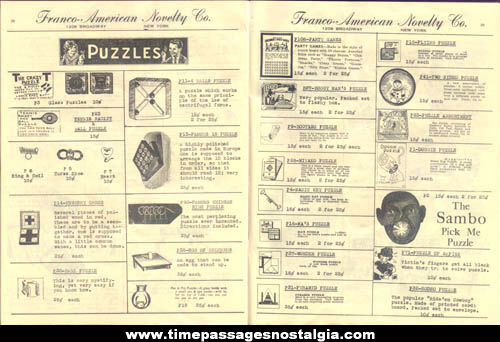 1938 Franco American Novelty Company Catalog & Price List