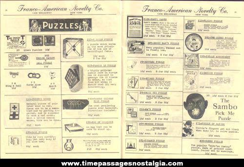 1938 Franco American Novelty Company Catalog & Price List