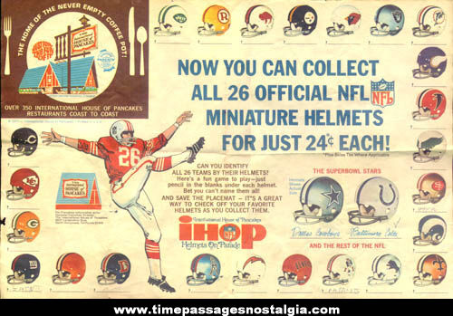 �1971 IHOP Restaurant NFL Football Helmet Game Placemat