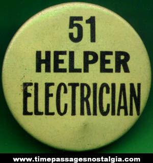 Old Electrician Helper Employee Badge