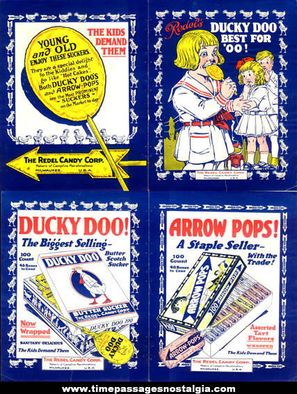 (2) Colorful Two-Sided 1919 Redels Candy Lollypop Trade Advertisements