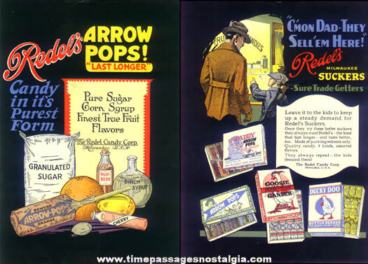 Colorful Two-Sided 1921 Redels Candy Lollypop Trade Advertisement