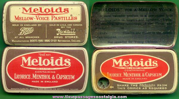 Old Full English Meloids Mellow Voice Pastilles Candies Dispenser Tin