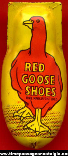 Colorful Old Lithographed Tin Red Goose Shoes Advertising Premium Clicker Noisemaker