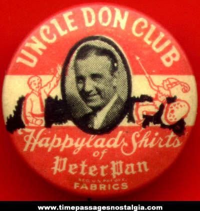 Old Celluloid Uncle Don Club Advertising Radio Premium Pin Back Button