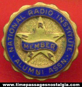 Old Enameled National Radio Institute Alumni Association Screw Back Button