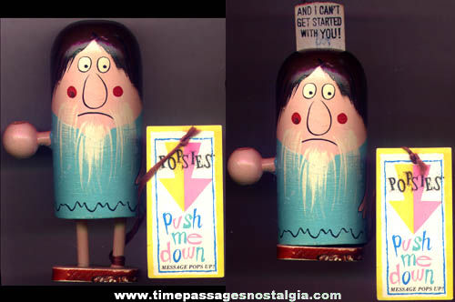 Old Painted Wood Popsies Push Me Down Figure With Tag