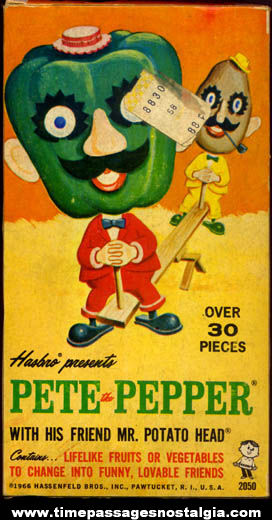 ©1966 Pete The Pepper and Mr. Potato Head Character Hasbro Box With Parts