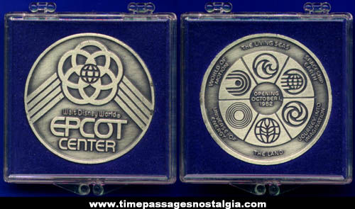1982 Walt Disney World Epcot Center Opening Day Coin / Medal