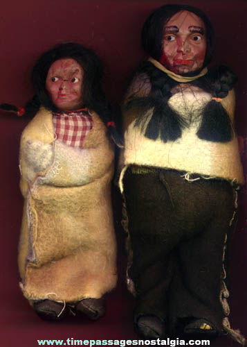 (2) Old Celluloid & Cloth Native American Indian or Eskimo Dolls