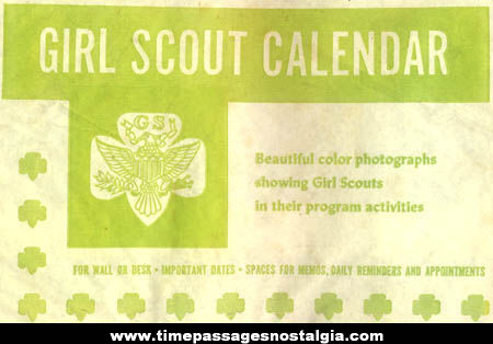 Colorful Unused 1968 Girl Scout Calendar with Envelope