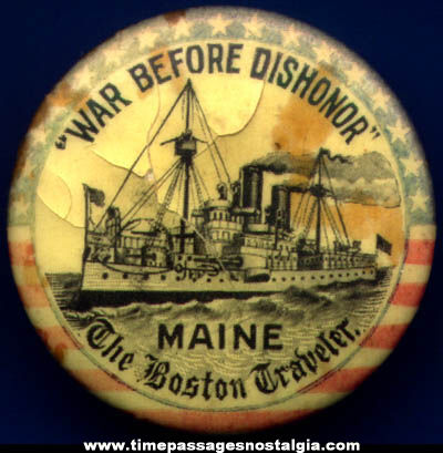 1800s U.S.S. Maine Navy Battleship Celluloid Pin Back Button