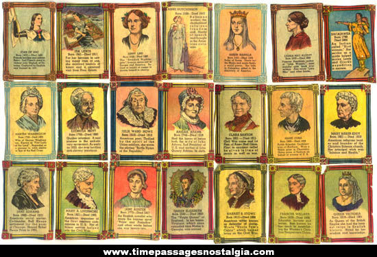 (21) Colorful Old Famous Women Newspaper Cut Out Trading Cards