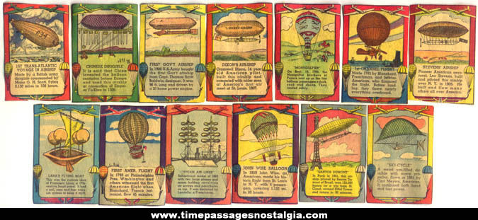 (13) Colorful Old Dirigible, Airship, & Balloon Newspaper Cut Out Trading Cards