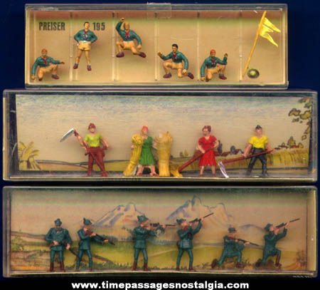 (3) Old Boxed German Miniature Sets Of People