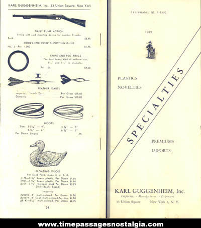 1949 Karl Guggenheim Premium Novelty Toy Price Catalog