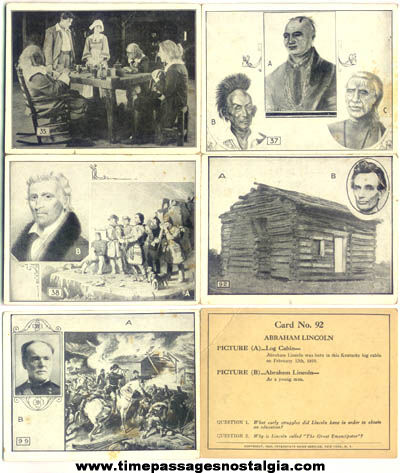 (5) Different ©1926 Historical Trading Cards