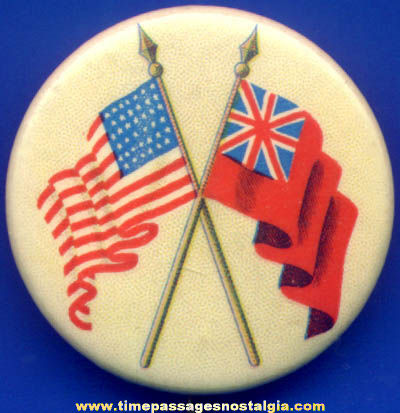 Old Celluloid American & British Flag Pin Back Button