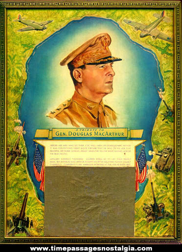 Colorful 1940s Framed General Douglas MacArthur Wall Plaque