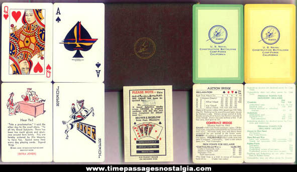 Old Boxed U.S. Navy Seabees Two Playing Card Deck Set