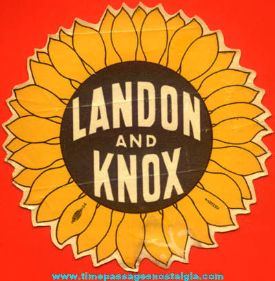 Unused 1930s Landon and Knox U.S. President Political Campaign Sunflower Decal