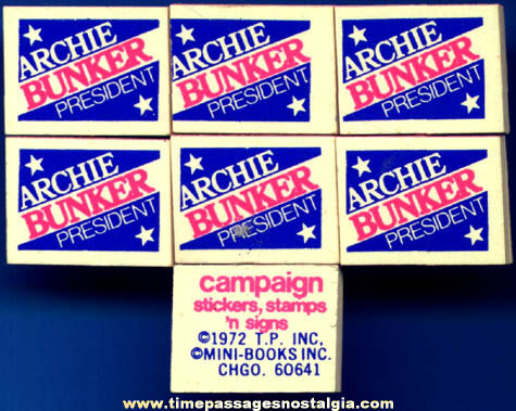 (7) 1972 Archie Bunker Gum Ball Machine Prize Political Booklets