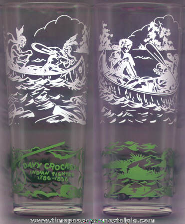 Old Davy Crockett Character Drinking Glass