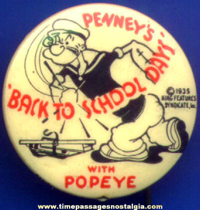 ©1935 Popeye Cartoon Character Penny's Celluloid Advertising Pin Back Button