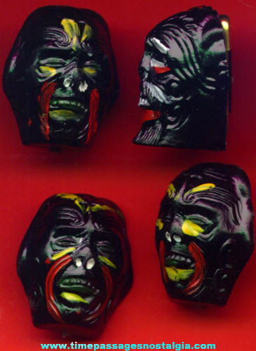 (4) Old Hand Painted Monster Head Gum Ball Machine Pin Charms