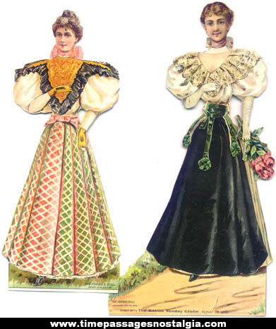 (4) Colorful 1895 Boston Sunday Globe Newspaper Premium Forbes Paper Dolls With Clothes