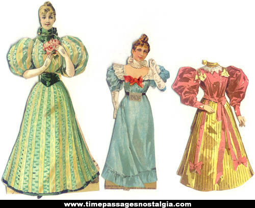 (2) Colorful 1895 Boston Sunday Globe Newspaper Premium Forbes Paper Dolls With Clothes