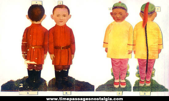 (10) Different Colorful 1904 Cultural Children Paper Dolls With Clothes
