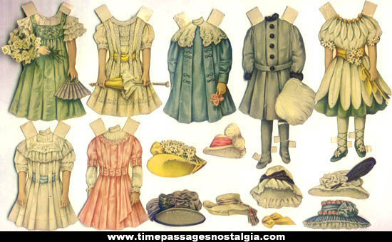 (15) Different 1800s Victorian Paper Doll Dresses and Hats