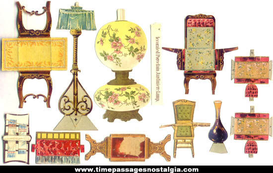 (11) Miscellaneous 1800s Victorian Paper Doll Furniture & Accessory Items