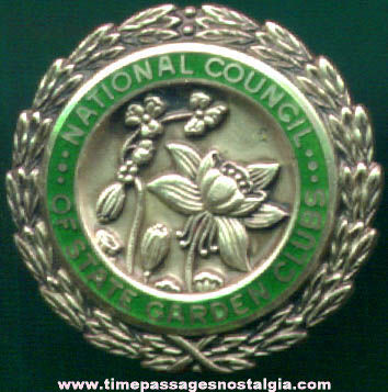 Old Enameled Silver National Council Of State Garden Clubs Advertising Pin