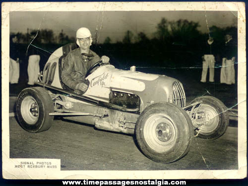 Old Midget Race Car and Driver Photograph