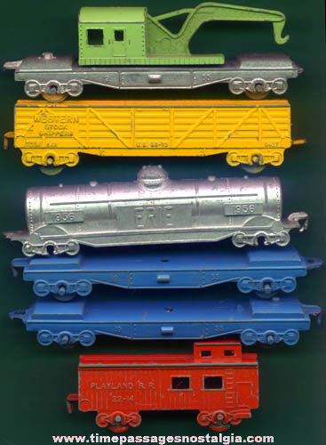 (6) Old Painted Metal Toy Railroad Train Cars