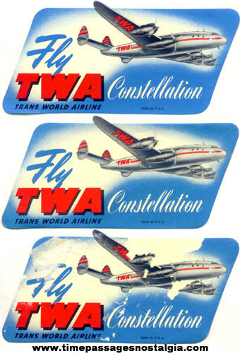 (3) Old TWA Constellation Airline Advertising Decal Stickers