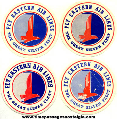 (4) Old Eastern Airlines Silver Fleet Decal Stickers