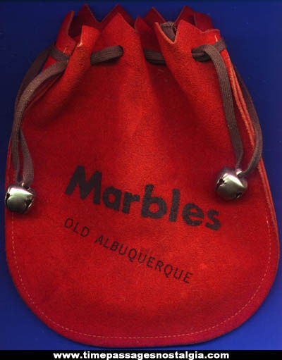 Old Suede Leather Advertising Souvenir Marble Bag With Bells