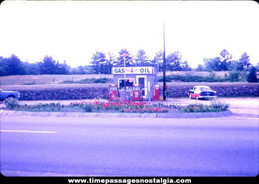 1955 Red Hat Gas Station Color Photograph Slide