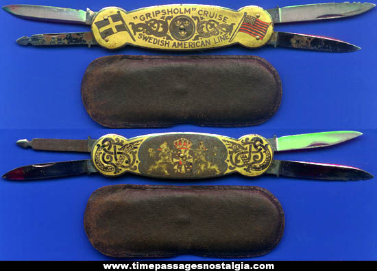 Old M.S. Gripsholm Swedish American Cruise Ship Line Pocket Knife With Case