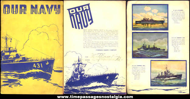 1940s Cushman Bakery ''Our Navy'' Booklet With U.S. Navy Ship Premium Pictures
