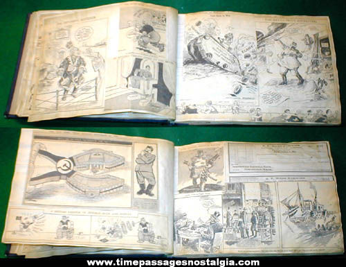 Large World War II Propaganda Cartoon Scrap Book